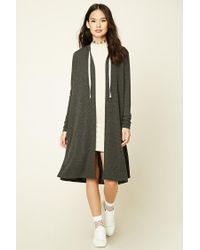 Forever 21   Green Longline Hooded Cardigan   Lyst
