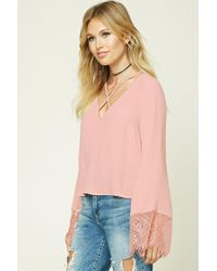 Forever 21 - Pink Contemporary Strappy-front Top - Lyst