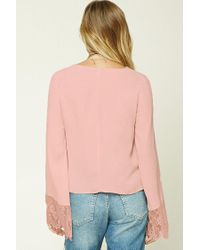 Forever 21 - Pink Women's Contemporary Strappy-front Top - Lyst