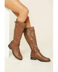 Forever 21   Brown Faux Leather Tall Boots   Lyst