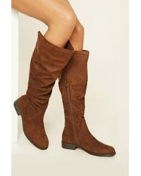 Forever 21 | Brown Slouchy Faux Suede Boots | Lyst