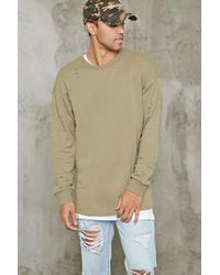 Forever 21 | Green Distressed Longline Sweatshirt for Men | Lyst