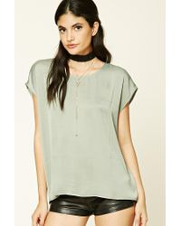 Forever 21 | Green Satin Boxy Top | Lyst