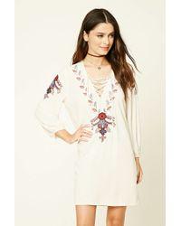Forever 21 Embroidered Lace-Up Dress Jeu Meilleur Magasin Pour Obtenir pyvWmPLIVt