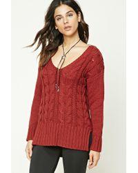 Forever 21 | Red V-neck Fisherman Sweater | Lyst