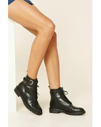 Forever 21   Black Faux Leather Lace-up Booties   Lyst