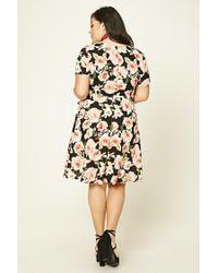 Forever 21 | Black Plus Size Floral Wrap Dress | Lyst