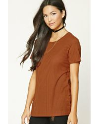 Forever 21 | Brown Boxy Ribbed Knit Top | Lyst