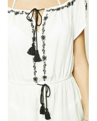 Forever 21 White Floral Stitch Cover-up Romper