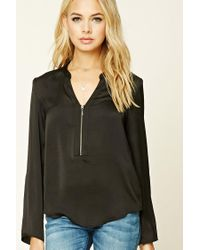 Forever 21 | Black Satin Zip-front Blouse | Lyst