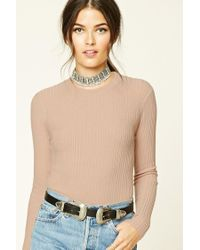 Forever 21 | Natural Contemporary Ribbed Sweater | Lyst