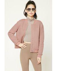 Forever 21 | Purple Perforated Bomber Jacket | Lyst