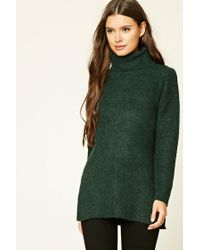 Forever 21 | Green Marled Longline Tunic Jumper | Lyst