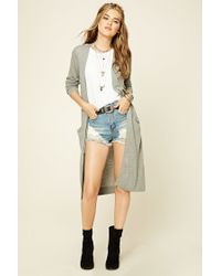 Forever 21 | Gray Open-front Longline Cardigan | Lyst