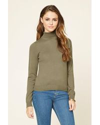 Forever 21   Green Knit Turtleneck Sweater   Lyst