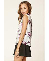 Forever 21 - Multicolor Contrast Tie-neck Floral Blouse - Lyst