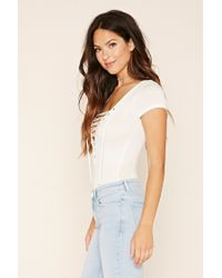 Forever 21 White Lace-up Bodysuit