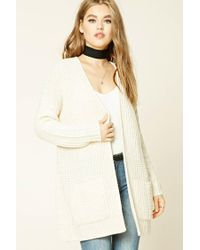 Forever 21 | Natural Ribbed Knit Sweater Cardigan | Lyst