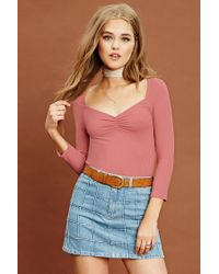Forever 21 | Multicolor Ribbed Knit Ruched Top | Lyst