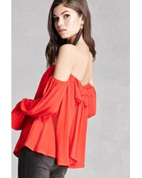 Forever 21   Red Off-the-shoulder Vented Top   Lyst