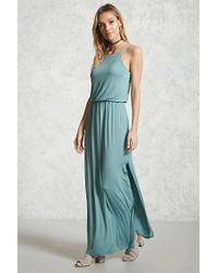 Forever 21 | Blue Draped Jersey Maxi Dress | Lyst