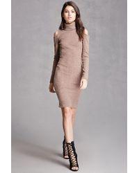 Forever 21 Multicolor Cowl Neck Open-shoulder Dress