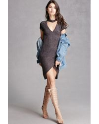 Forever 21 | Gray Fleece Ribbed Cutout Dress | Lyst