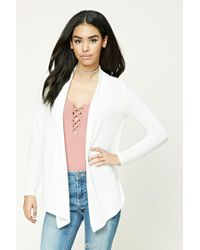 Forever 21 | White Open-front Draped Cardigan | Lyst