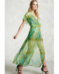 Forever 21 | Green Watercolor Maxi Dress | Lyst