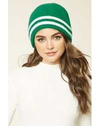 Forever 21 | Green Striped Ribbed Knit Beanie | Lyst