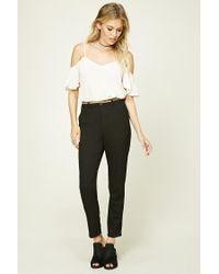Forever 21 | Black Contemporary Belted Trousers | Lyst