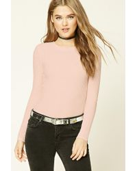 Forever 21 | Pink Waffle Knit Crew Neck Top | Lyst