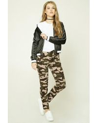 Forever 21 | Green Zippered Camo Print Joggers | Lyst