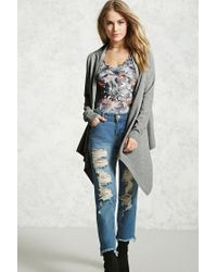 Forever 21 | Gray Marled Knit Drape Cardigan | Lyst