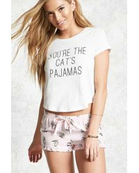 Forever 21 | Multicolor Youre The Cats Pajamas Pj Set | Lyst