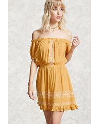 Forever 21 | Yellow Embroidered Peasant Dress | Lyst