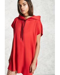 Forever 21 | Red Raw-cut Hooded Dress | Lyst