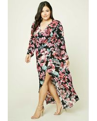 f4ff53e0156 Lyst - Forever 21 Plus Size Floral Wrap Dress in Black