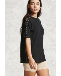 Forever 21 | Black Lace-up Sleeve Tee | Lyst