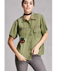Forever 21 | Green Twelve Army Patch Shirt | Lyst