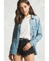 Forever 21 | Blue Distressed Denim Shirt | Lyst