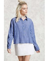 Forever 21 | Blue Boxy Woven Shirt | Lyst
