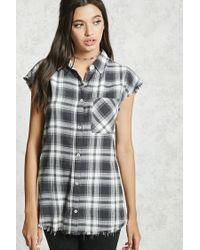 Forever 21   Gray Frayed Plaid Buttoned Shirt   Lyst