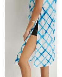 Forever 21 - Blue Faded Windowpane High-slit Cami - Lyst