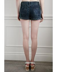 Forever 21 - Blue Buttoned-front Denim Shorts - Lyst