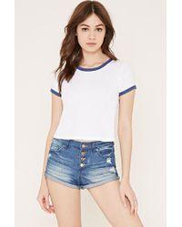 Forever 21 Blue Women's Button-fly Denim Shorts