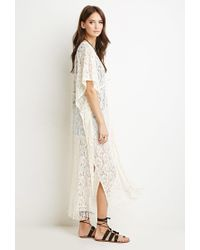 Forever 21 - Natural Paisley-patterned Lace Cardigan - Lyst