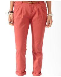 Forever 21 Pink Skinny Ankle Pants W/ Belt