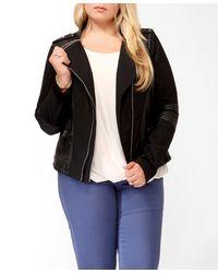 Forever 21 Black Plus Size Double Zipper Moto Jacket
