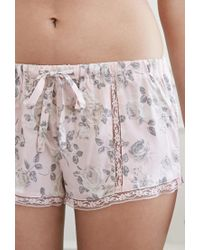 Forever 21 Pink Lacy Rose Pj Shorts